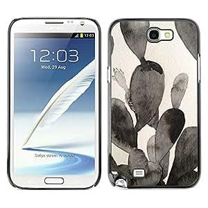 Caucho caso de Shell duro de la cubierta de accesorios de protección BY RAYDREAMMM - Samsung Galaxy Note 2 N7100 - Painting Black White Watercolor