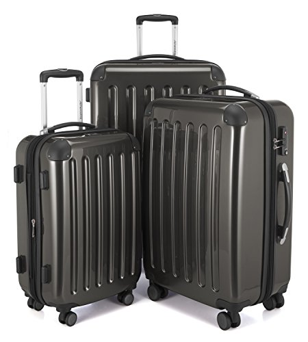 HAUPTSTADTKOFFER Luggages Sets Glossy Suitcase Sets Hardside Spinner Trolley Expandable (20', 24' & 28') TSA (Graphite)]()