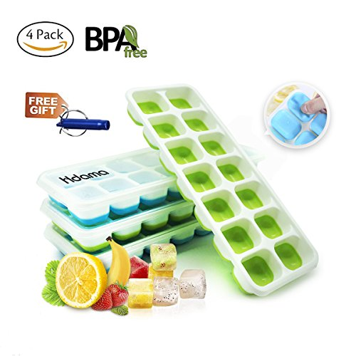 Ice Cube Trays, Silicone Ice Cube Tray with Lids BPA Free, Easy Release Large Cubes Best Ice Trays with No Spill Cover Flexible and Reusable (4 (Cube Tray)