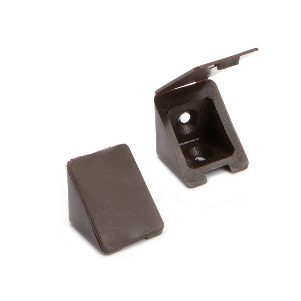 100 x Conector de muebles/conector angular con tapa | Sossai BT1, 2 agujeros | Color: marron | Material: plá stico 2 agujeros | Color: marron | Material: plástico