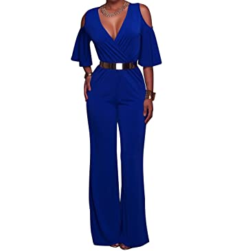 a7e6f3b63c9 AllForYou18 Women s Elegant Deep V-Neck Off Shoulder Wide Leg Pants  Jumpsuit Sexy Party Cocktail Jumpsuit Playsuit with Belt  Amazon.co.uk   Clothing