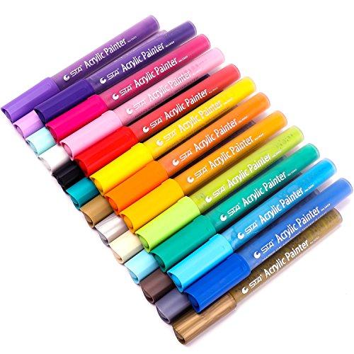 Paint Pens for Rock Painting, Canvas, Fabric, Wood, Ceramic, Glass, Mugs, Pumpkins, DIY Crafts, Scrapbooking Supplies, Card Making, Acrylic Paint Marker Pens Permanent, 24 Colors