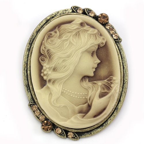 Brown Cameo Brooch Pin Charm Rhinestones Necklace Pendant Compatible