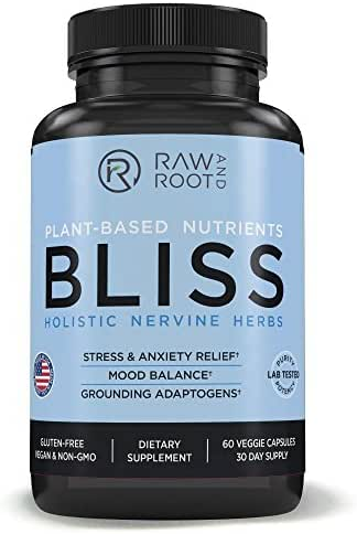 Bliss (Holistic Nervine Herbs) - Adaptogens Ashwagandha, Reishi, St. John's Wort and Other Herbs for Anxiety Relief, Stress Relief, Adrenal Support – Dietary Supplement – 60 Vegetarian Capsules