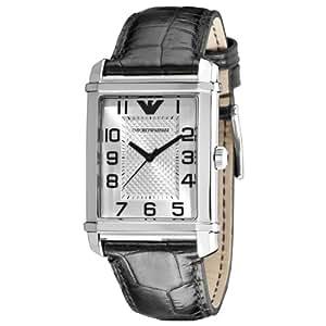 Emporio Armani Classic Collection AR0486 - Reloj analógico de cuarzo para hombre, correa de cuero color negro