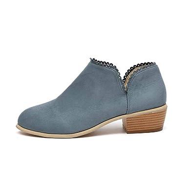 70a987f414285b Stiefeletten Damen Leder Wildleder Sommer Low Top Ankle Boots Blockabsatz  Stiefel mit Blockabsatz Elegant Schuhe Schwarz