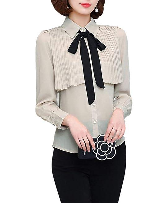 Blusas Ocasionales De Las Señoras De Manga Larga Camisa Elegante Ropa Bowknot del De La Camiseta