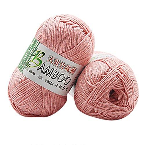 Sacow Wool Yarn, Natural Bamboo Cotton Knitting Yarn Colorful Crochet Knitwear Soft Yarn (C)