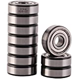 XiKe 10 Pack 628ZZ Precision Bearings 8x24x8mm, Rotate Quiet High Speed and Durable, Double Shield and Pre-Lubricated, Deep Groove Ball Bearings.