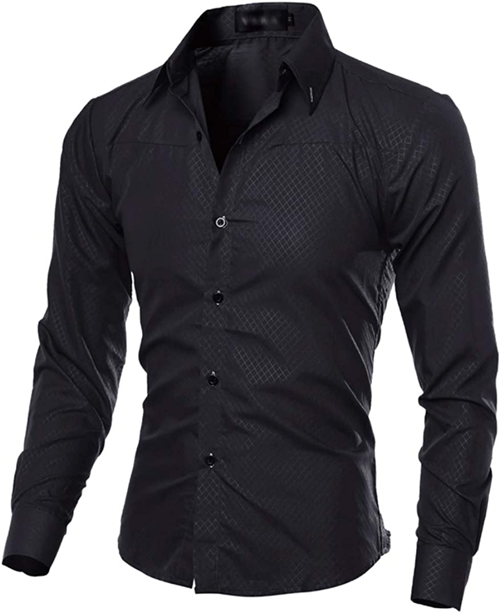 do.Cross Mens Regular Slim Fit Solid Spread Collar Long Sleeve Button Down Casual Business Grid Dress Shirt