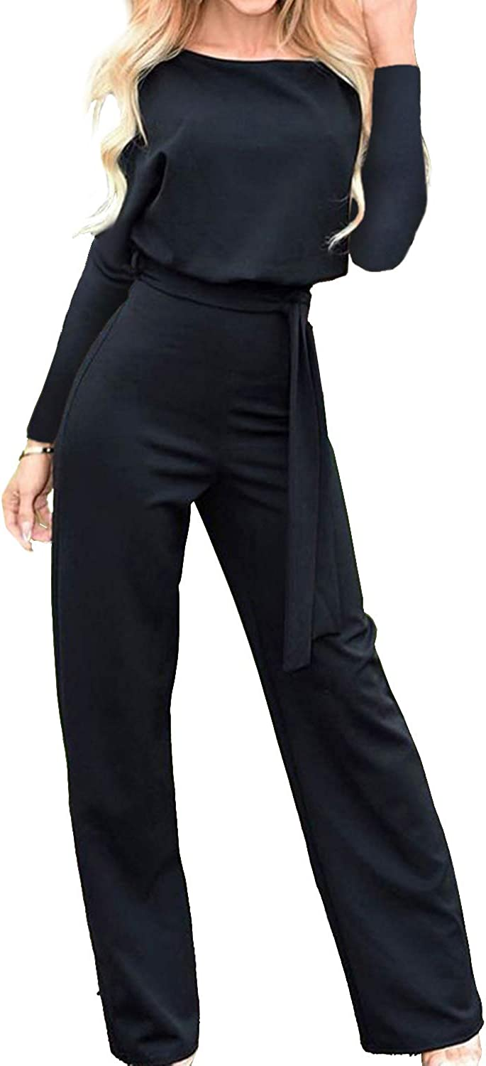 Caiecase Women's Long Sleeve Jumpsuit Wide Leg Pants Rompers with Belt