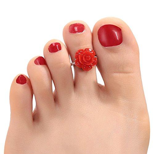 Gnzoe 925 Sterling Silver Toe Rings Foot Beach Jewelry For Women Girls Flower Red