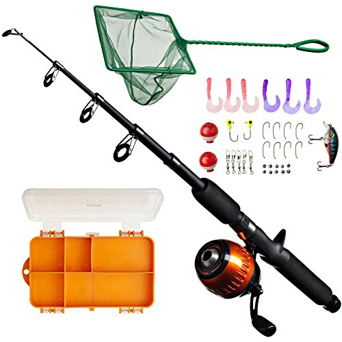 Kids Fishing Rod & Reel Combo Kit with Tackle Box, Minnow Net, Travel Bag and Starter Guide (47 Pieces) (Fly Guide Fishing Net)