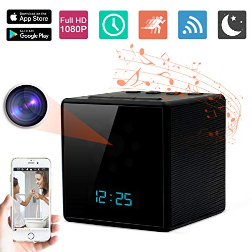 Spy Hidden Camera ZXWDDP hd WiFi 1080p 2019 New Bluetooth Speaker Clock Camera with Motion Detection/Ultra Clear Night Vision/Remote Monitoring/Digital Alarm Clock Function Support iOS/Android