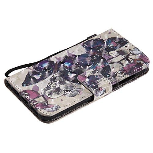 Artfeel Huawei P8 Lite 2017 Hülle,Huawei P8 Lite 2017 Wallet Flip Hülle,Stilvoll 3D Farbmalerei Muster Tasche,[Magnetverschluss] [Standfunktion] Kratzfestes Premium PU Bookstyle Leder Brieftasche Schu Schwarzer Schmetterling