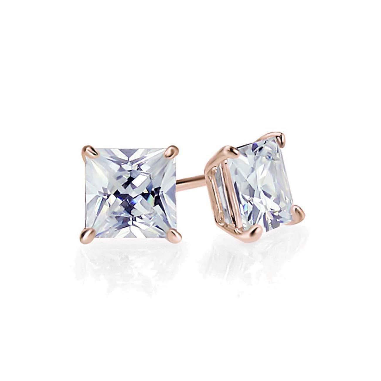 Wonderful 5mm Princess Cut Diamond Stud Earrings 14k Rose Gold Over .925 Sterling Silver For Womens
