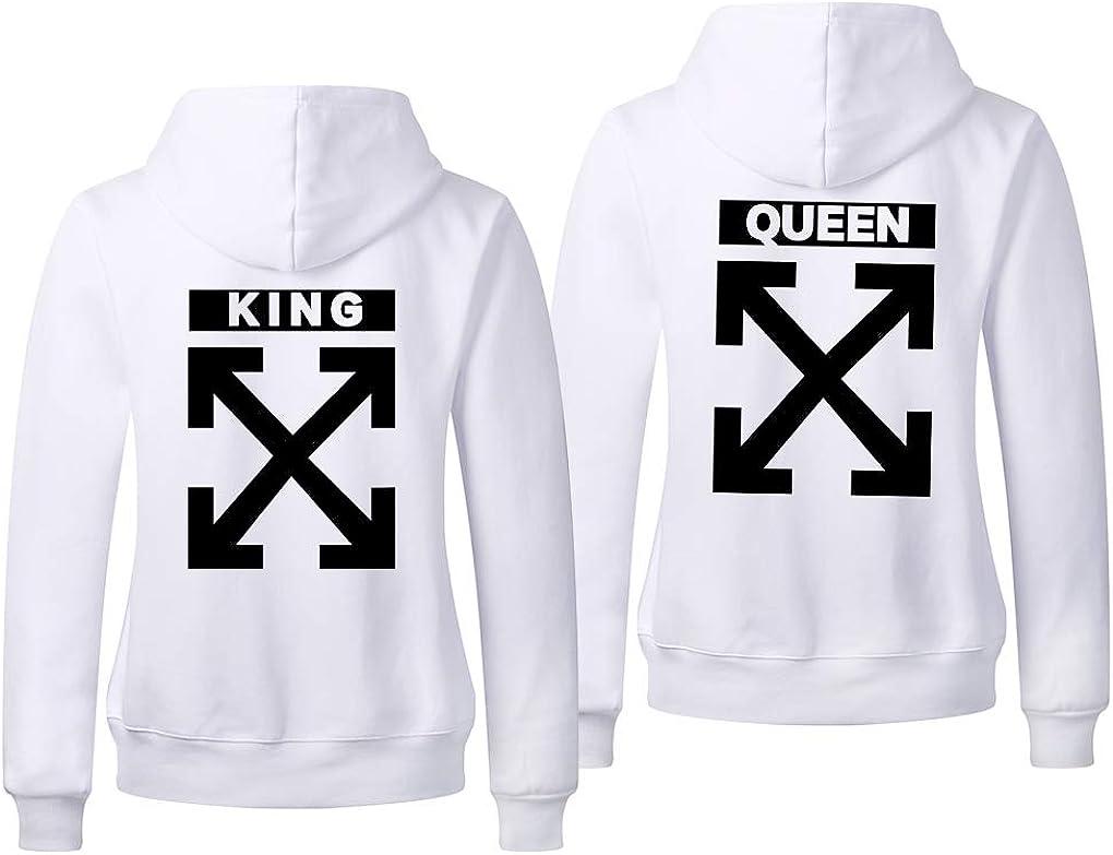 The King Cadeau St Valentin Sweatshirt Capuche Homme Couple Queen /& King