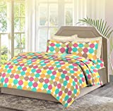 Bombay Dyeing. Cardinal Cotton Bedsheet with 2 Pillow Covers - Double Bed, Yellow