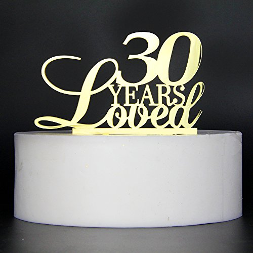 LOVELY BITON Gold 30 Years Loved Cake Topper Shining Numbers Letters for Wedding, Birthday, Anniversary, Party.