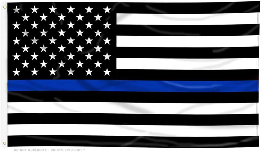 Amazon Com Pointview Flags Thin Blue Line American Flag 3 By 5