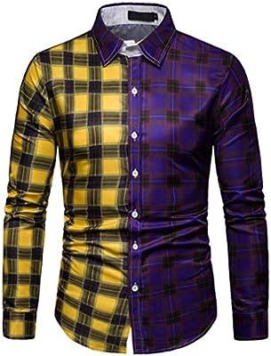 LFANH Camisa de Tela Escocesa de Hombre, Ropa Camiseta Slim Fit Color de los Cordones de Manga Larga de los Hombres de Negocios de Moda (tamaño M-3XL) Purple L: Amazon.es: Hogar