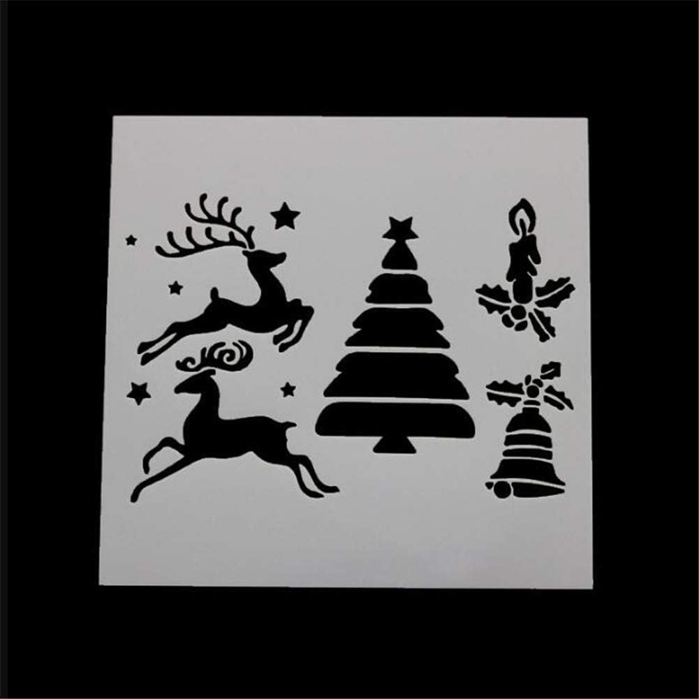 Wedding Party Cupake Cookie Mold,Coffee Stencils,Sugar Sieve,DIY Cake Brim Decoration Mould Baking Tool Christmas Tree Cake Stencil Christmas Santa Claus Claus Snowman Bell Plastic Cake Template
