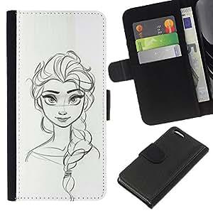 A-type (Sketch Woman Drawing Scribble Girl) Colorida Impresión Funda Cuero Monedero Caja Bolsa Cubierta Caja Piel Card Slots Para Apple Iphone 5C