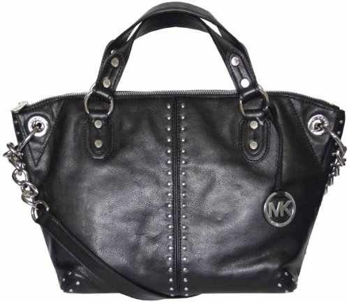 018d4b231d4dfe Michael Kors Black Astor Leather Studded Large Tote Satchel Bag with Silver  Hardware