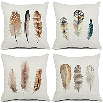 Amazon Set of 4 Feather Throw Pillow Covers Cotton Linen