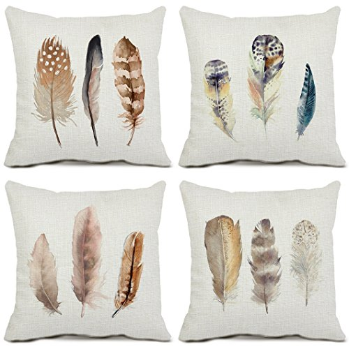 Set of 4 Feather Throw Pillow Covers Cotton Linen Standard Size Cushion Covers Sofa Home Pillowcases 18x18 Inches