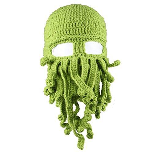 Dealzip Inc® Fashion Green Octopus Cthulhu Shape Knitting Wool Ski Wind Warm Mask Stubble Beard Beanie Hat (Silly Hats)