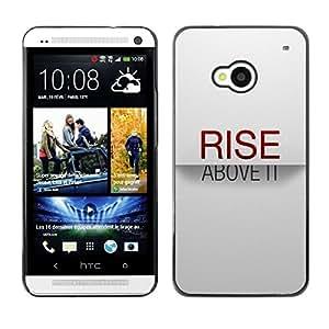 PC/Aluminum Funda Carcasa protectora para HTC One M7 Rise Above It Red Text Inspirational White / JUSTGO PHONE PROTECTOR