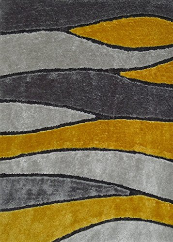 CHIC RUGZ Style 120 Gray Yellow Hand Tufted Weave Modern Living Shag Area Rug, 5' x 7' ()