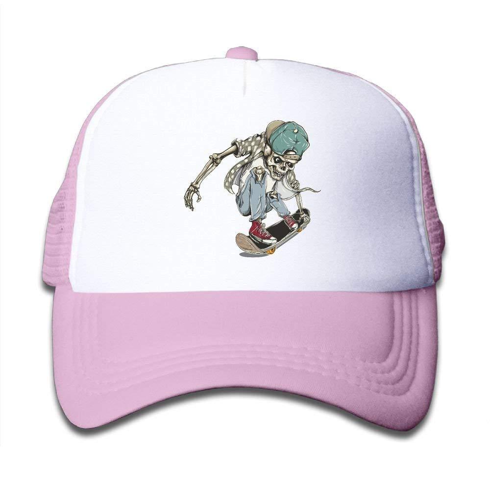 Skull Skateboard Child Baseball Caps Adjustable Mesh Trucker Hats