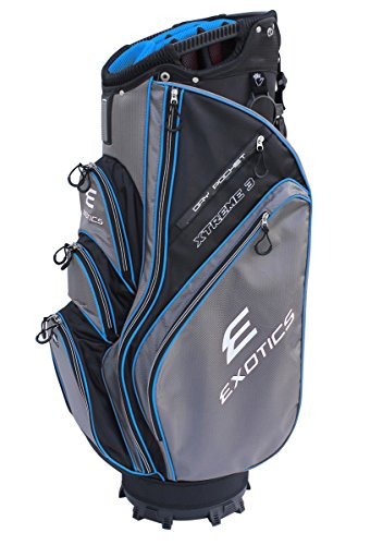 Tour Edge Exotics Xtreme3 Cart Bag (Men's, Exotics Extreme 3 Cart Bag Blk/Char/Blue) (Golf Tour Bag)