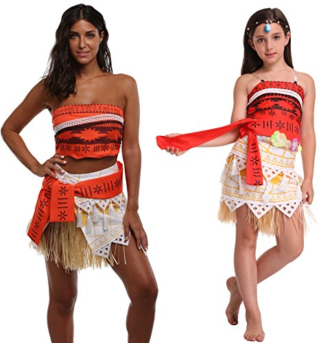 Goodsaleok Girl Women Moana Cosplay Costume Polynesia princess Dress Outfit For Halloween Party, Adult (Cosplay Outfits For Sale)