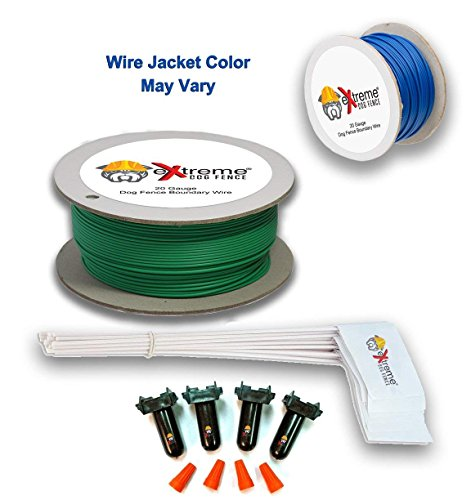 Perimeter Wire - Extreme Dog Fence Electric Dog Fence Wire Perimeter Boundary Installation Kit | 500 Feet 20 Gauge AWG Copper Wire | 50 Flags | 2 Wire Splices