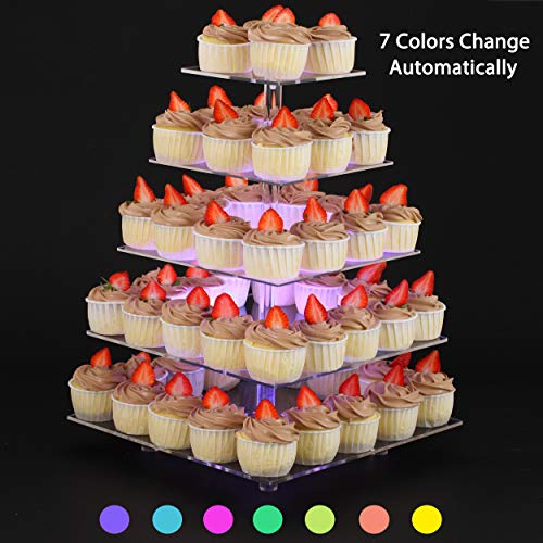 Sumerflos 7 Color-Changing Cupcake Stand - 5 Tier Clear Acrylic Dessert Tree Tower with LED Light - Wedding, Party, and Baby Shower Cake Pastry Display Holder (Square)