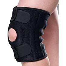 Knee Support, Non-slip Knee Brace Sleeve Wraps with Stabilizer and Open-Patella Neoprene Knee Pads Protector for Arthritis and Injury Recovery- Adjustable, Black