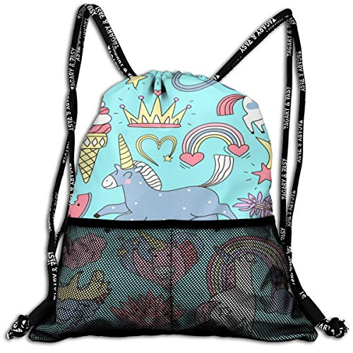 Taslilye Unicorn Fairy Elements Doodle Set Vector Image Personalized Drawstring Backpack Front Zipper Mesh Bag Unisex For Travel Fitness