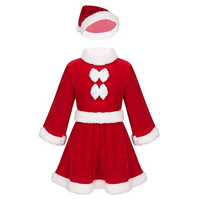 inhzoy Traje Navidad Papá Noel para Bebé Niña Disfraz de Santa ...
