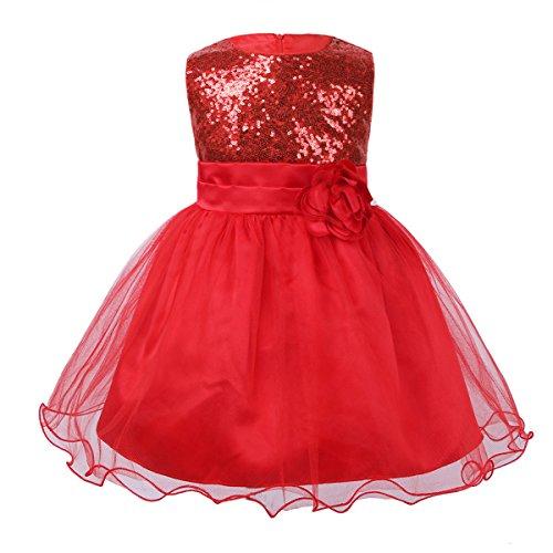 iiniim Baby Girls Sequins Formal Wedding Pageant Birthday Tutu Princess Party Flower Girl Dress Red 12-18 Months -