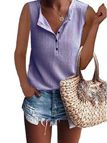 Famulily Juniors Tank Tops,Teen Girls Clothing Summer Casual Loose Fit Cute Sleeveless Shirts 2019 Purple Medium