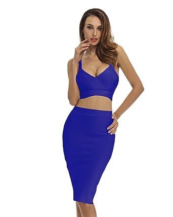 67de62543cf Whoinshop Women's Bodycon Skirt Set 2 Pieces Sleeveless Celebrity Bandage  Dress (XS, Blue(