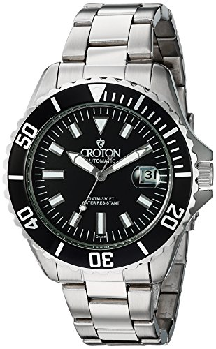 Croton Mens Stainless Steel Watch (CROTON Men's 'Winder' Stainless Steel Automatic Watch, Color:Silver-Toned (Model: CA301294BKWD))