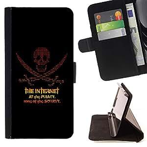 For Samsung Galaxy S6 EDGE (NOT S6) Case , La piratería en Internet- la tarjeta de Crédito Slots PU Funda de cuero Monedero caso cubierta de piel