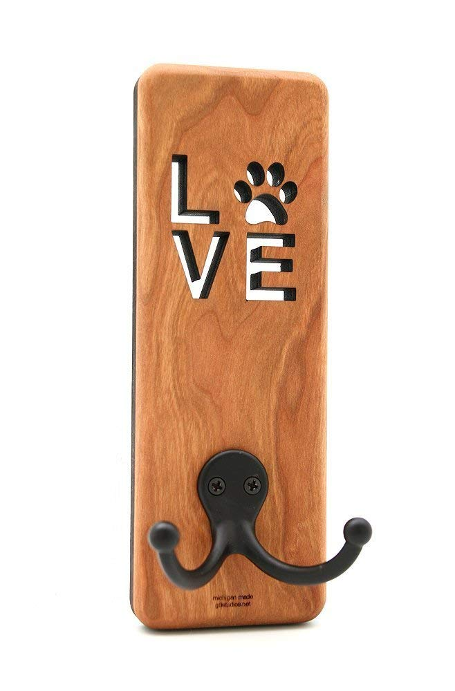 Love Paw Dog Leash Hook Holder, Towel Hook, Cherry Wood, Laser Cut and Engraved