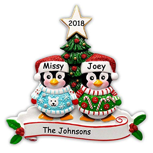 Personalized Festive Ugly Christmas Sweater Penguin Couple with Glittered Santa Stocking Cap and Holiday Christmas Tree Detail Hanging Christmas Ornament with Custom Name and Date (Optional)