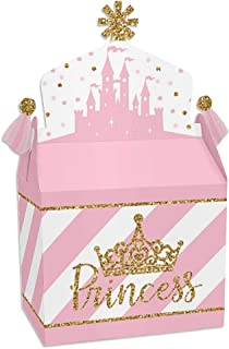 product image for Big Dot of Happiness Little Princess Crown - Treat Box Party Favors - Pink and Gold Princess Baby Shower or Birthday Party Goodie Gable Boxes - Set of 12