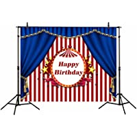 Funnytree 7x5ft Happy birthday Circus style backdrop photography photo studio background Curtain stripes banner photobooth